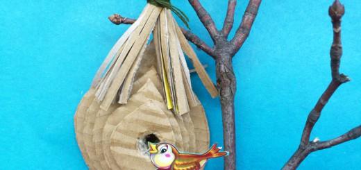 Гнездо из картона своими руками. Итоговый вид поделки.