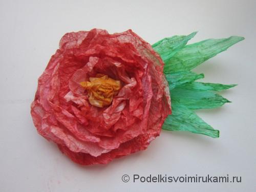 Как сделать розу из бумаги своими руками. Итоговый вид поделки.