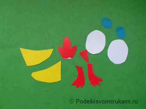 Цыплёнок из диска и бумаги. Шаг №4.