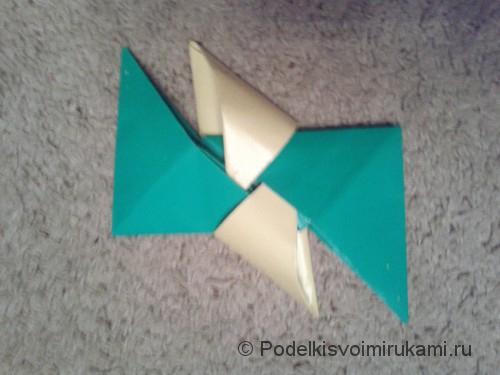 Как сделать четырёхконечный сюрикен из бумаги. Шаг №9. Фото 2.
