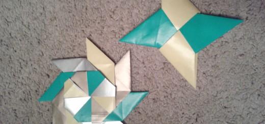 Как сделать сюрикен из бумаги. Две итоговые поделки.