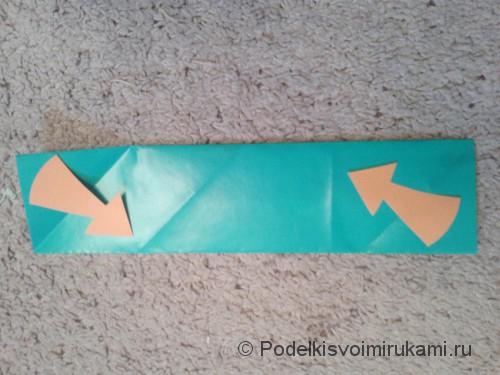 Как сделать четырёхконечный сюрикен из бумаги. Шаг №5. Фото 1.