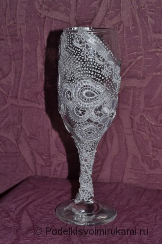 Итоговый вид свадебного бокала. Фото 1.