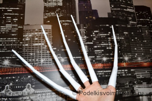Как сделать когти из бумаги. Итоговый вид поделки. Фото 17.