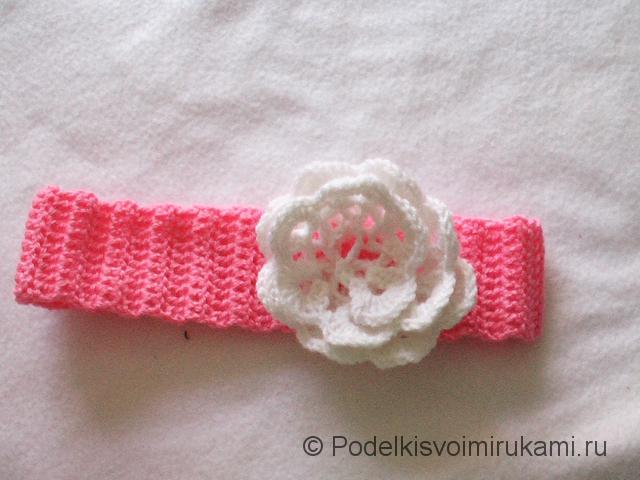 Вязание детской повязки на голову. Шаг №8. Фото 1.