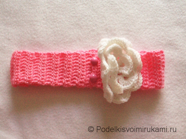 Вязание детской повязки на голову. Шаг №8. Фото 2.