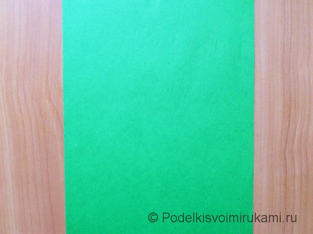 Ёлка оригами из бумаги своими руками. Шаг №1.