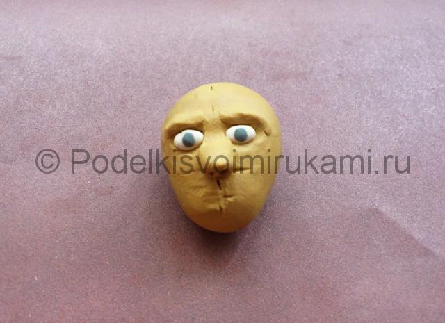 Голова человека из пластилина. Урок лепки. Шаг №6.