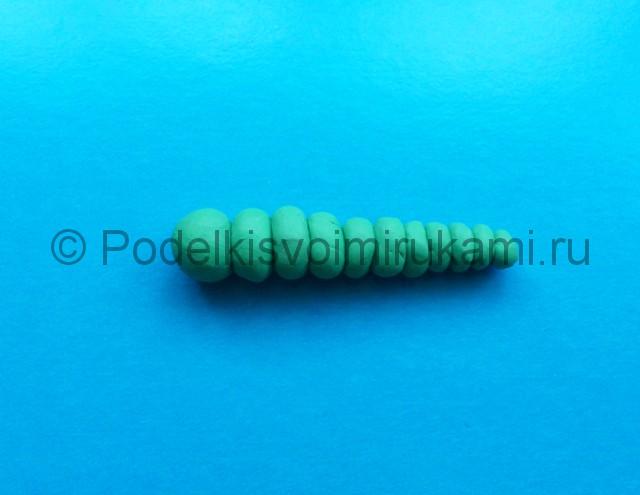 Гусеница из пластилина. Шаг №5.