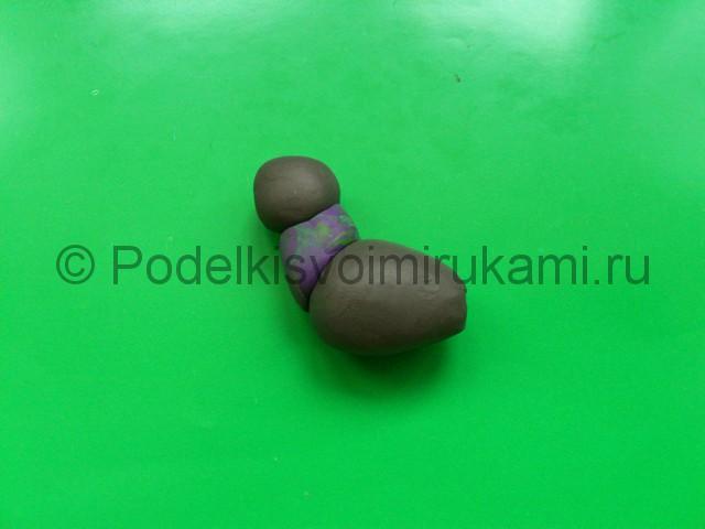 Лепка голубя из пластилина. Шаг №3.