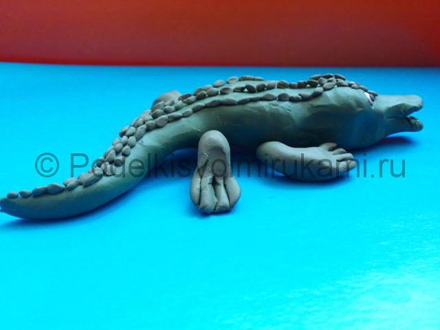 Крокодил из пластилина. Итоговый вид поделки. Фото 3.