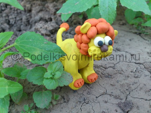 Лев из пластилина. Итоговый вид поделки.