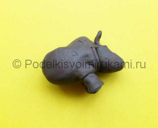 Носорог из пластилина. Шаг №6.