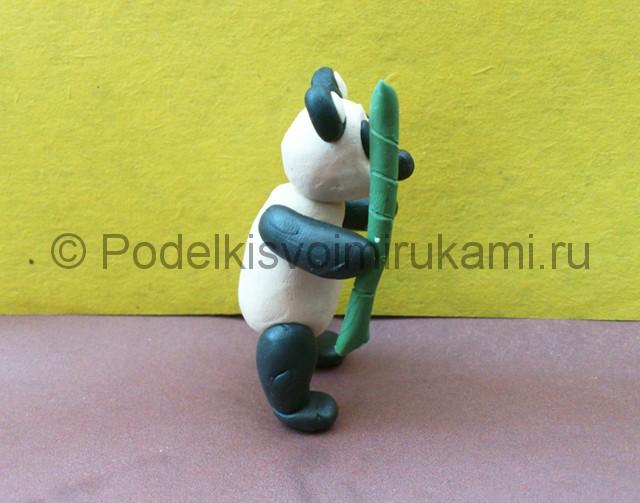 Панда из пластилина. Итоговый вид поделки. Фото 2.
