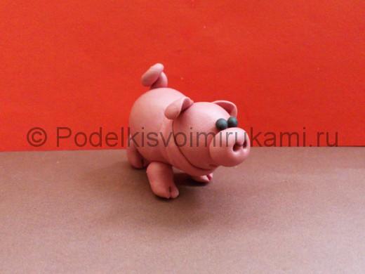 Свинка из пластилина. Итоговый вид поделки.