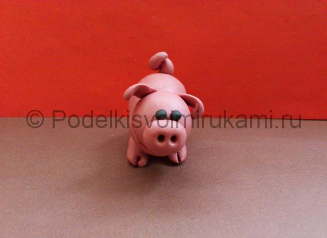 Свинка из пластилина. Итоговый вид поделки. Фото 2.
