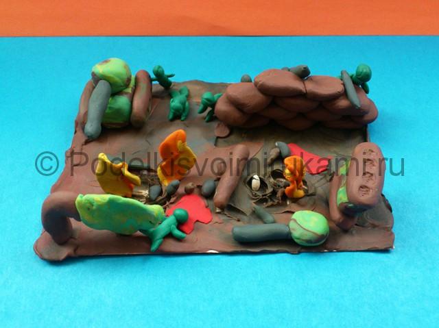 Война из пластилина. Итоговый вид поделки. Фото 3.
