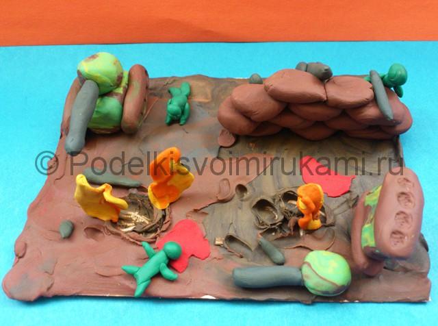 Война из пластилина. Итоговый вид поделки. Фото 1.