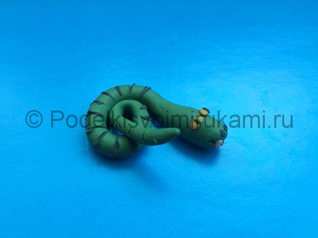 Змея из пластилина. Шаг №8.