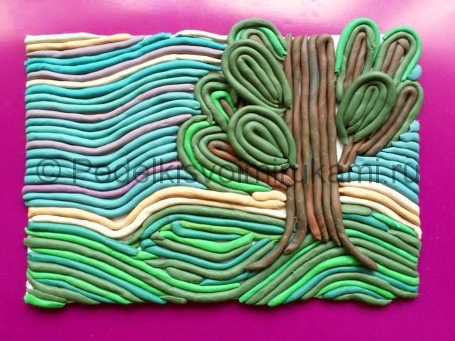 Лепка пейзажа из пластилина. Итоговый вид поделки.