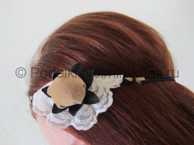 Оригинальное украшение-полоска для волос своими руками. Фото 19.