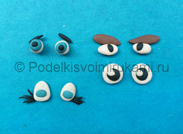 Как сделать глаза из пластилина. Итоговый вид поделки.