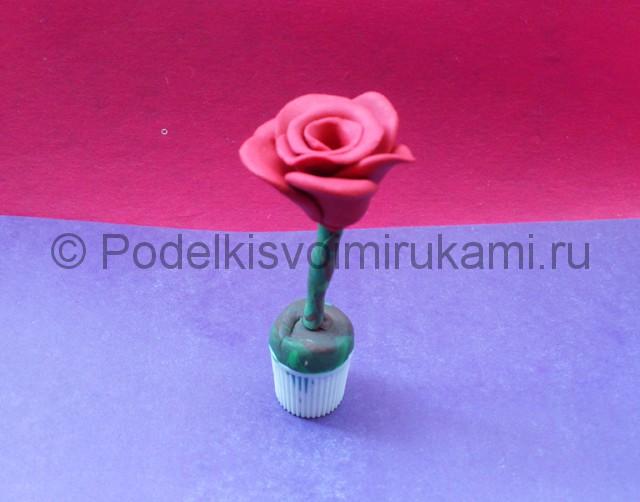 Как сделать розу из пластилина. Шаг №8.