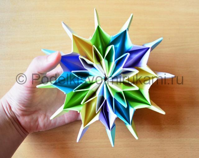Как сделать фейерверк из бумаги. Итоговый вид поделки. Фото 5.