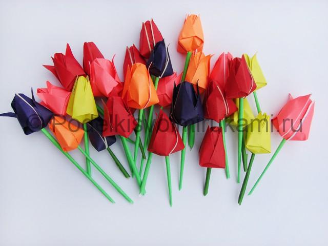 Как сделать тюльпаны из бумаги своими руками. Фото 23.