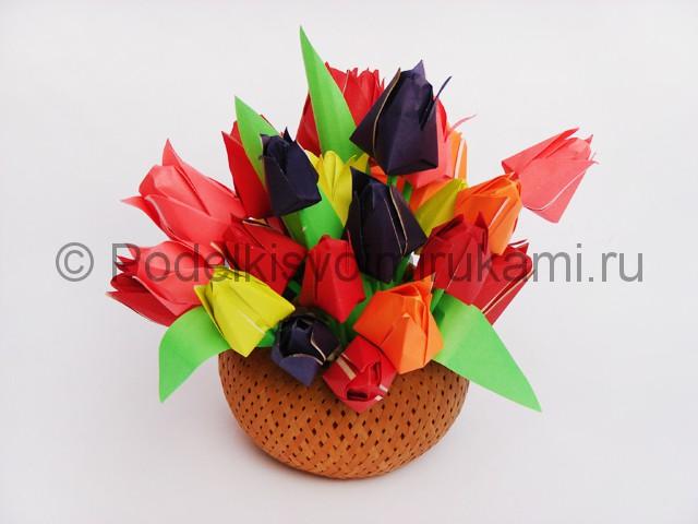 Как сделать тюльпаны из бумаги своими руками. Итоговый вид поделки. Фото 1.