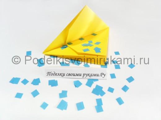 Как сделать хлопушку из бумаги. Итоговый вид поделки.