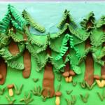 Как слепить лес из пластилина. Итоговый вид поделки.