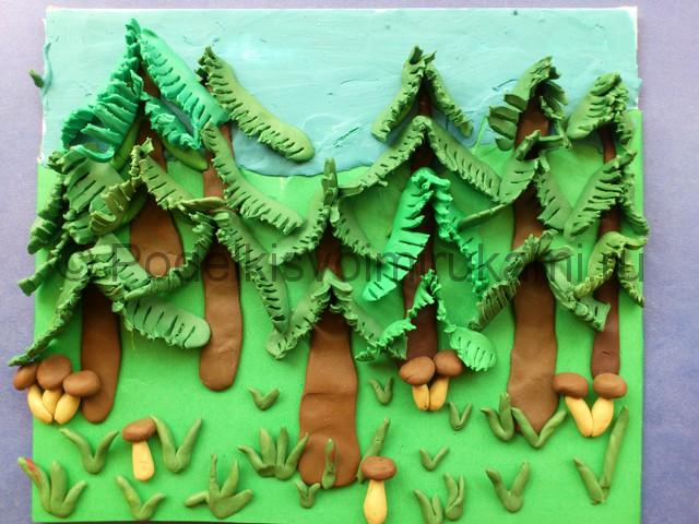 Аппликации из цветной лес