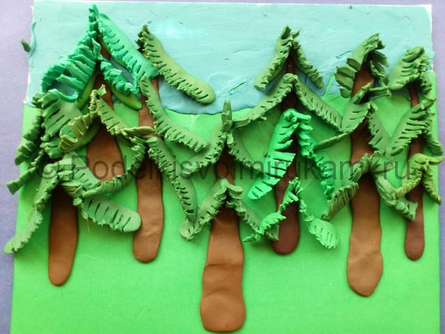 Как слепить лес из пластилина. Шаг №9.
