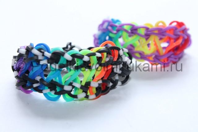 «Радужный» браслет из цветных резинок. Итоговый вид поделки. Фото 2.