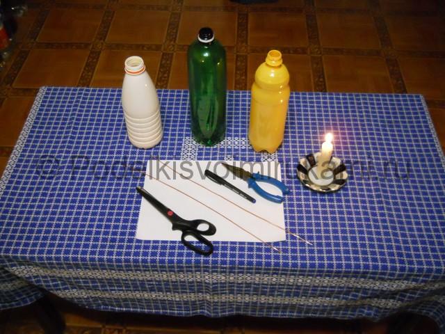 Ромашка из пластиковых бутылок своими руками. Фото 1.