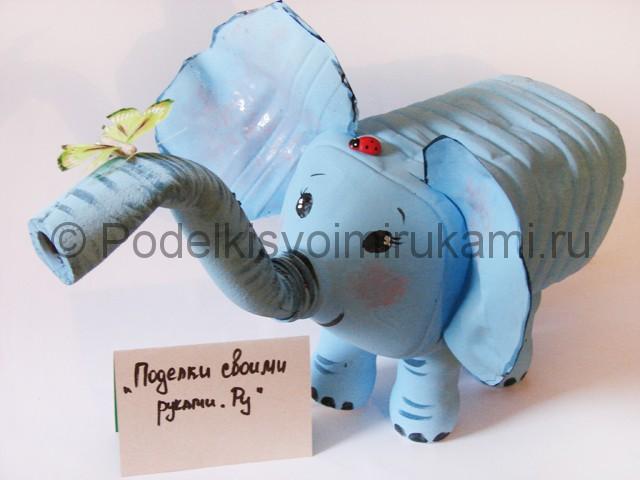 Слон из пластиковых бутылок своими руками. Итоговый вид поделки. Фото 2.