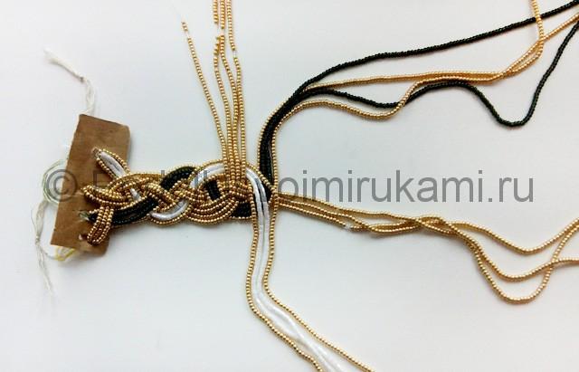 Плетение колье из бисера «Рождественский переплет» - фото 5.