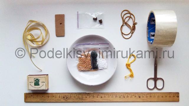 Плетение колье из бисера «Рождественский переплет» - материалы.