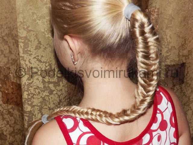 Плетение косичка для девочек «Рыбий хвостик» - фото 10.