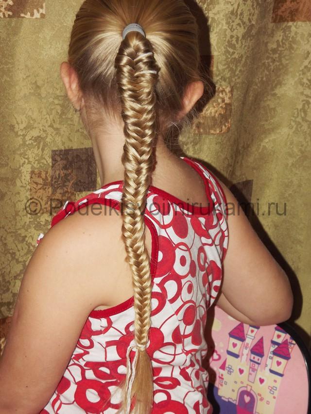 Плетение косичка для девочек «Рыбий хвостик» - фото 12.
