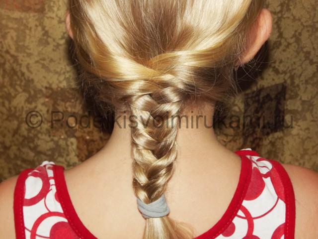 Плетение косичка для девочек «Рыбий хвостик» - фото 5.