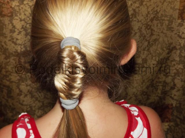 Плетение косичка для девочек «Рыбий хвостик» - фото 7.