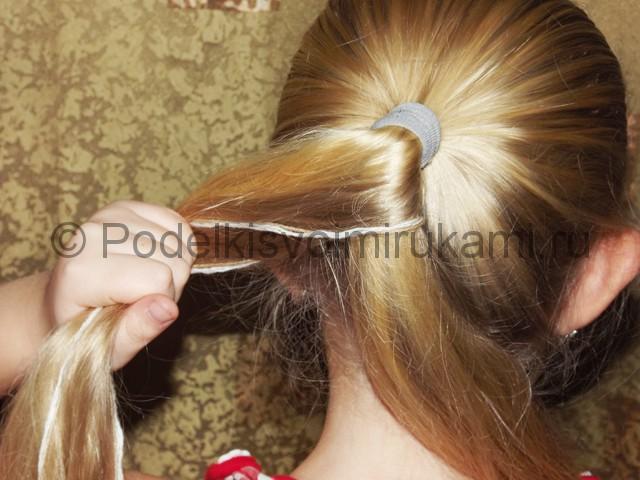 Плетение косичка для девочек «Рыбий хвостик» - фото 9.