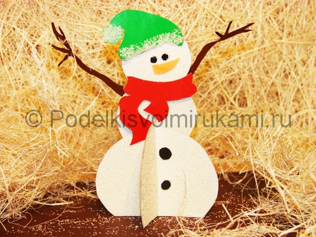 Изготовление снеговика из бумаги - фото 27.
