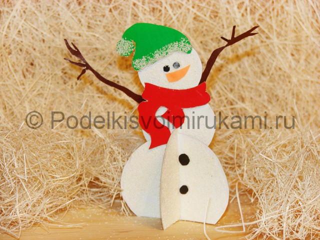 Изготовление снеговика из бумаги - фото 28.