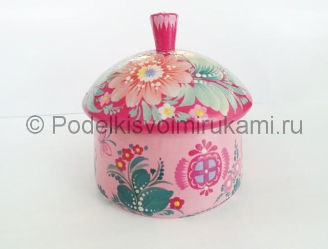 Выполнение росписи шкатулки-домика в розовых тонах - фото 10.