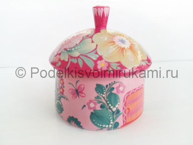 Выполнение росписи шкатулки-домика в розовых тонах - фото 11.