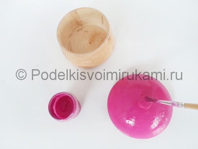 Выполнение росписи шкатулки-домика в розовых тонах - фото 4.