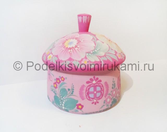 Выполнение росписи шкатулки-домика в розовых тонах - фото 8.